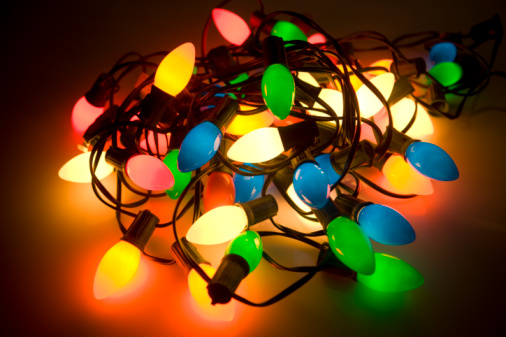tangled pile of colored christmas lights